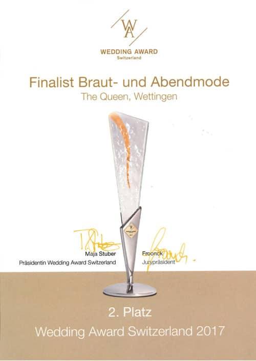 2017 Wedding Award Switzerland, The Queen - Diplom